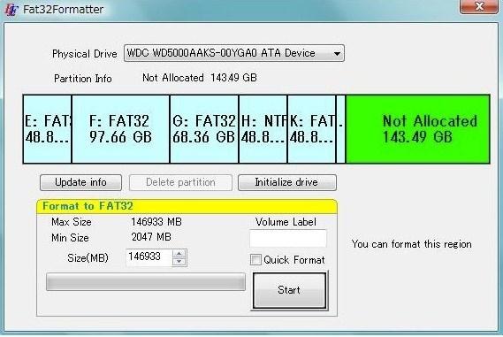 Format ke FAT32 menggunakan FAT32Formatter
