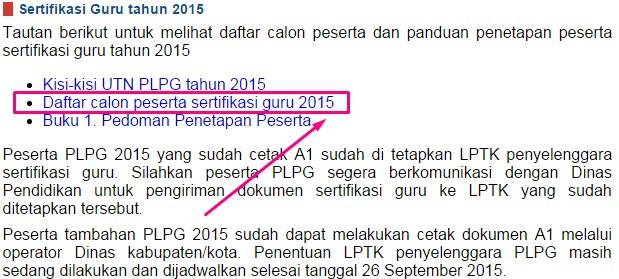 Daftar calon peserta sertifikasi guru 2015
