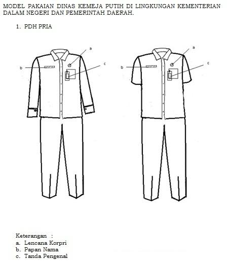 Model PDH Kemeja Warna Putih bagi PNS Pria di lingkungan Kemendagri dan Pemerintah Daerah